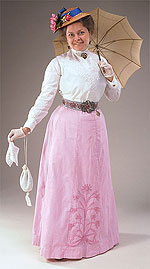 Why do women wear long dresses in 1900?