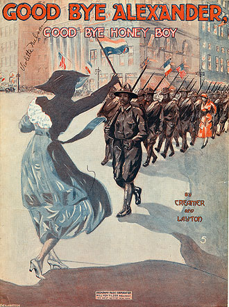 file:/activities/oralhistory/cappics/elliot1917_alexander, alt: illustration of a woman waving goodbye to a line of soldiers marching off to war