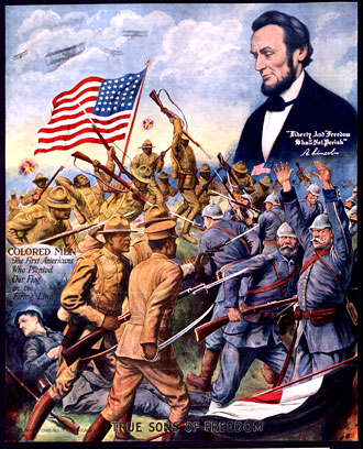 file:/activities/oralhistory/cappics/elliot1917_poster, alt: poster of black soldiers fighting german soldiers with american flag and Abraham Lincoln looking on