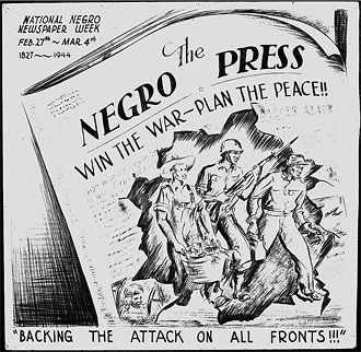 file:/activities/oralhistory/cappics/elliot1939vv_negropress, alt: 7 african-american musicians holding sheet music with the double V logo on it