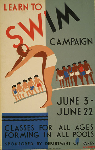 file:/activities/oralhistory/cappics/pryor1934_swim, alt: poster that reads: Learn to swim campaign