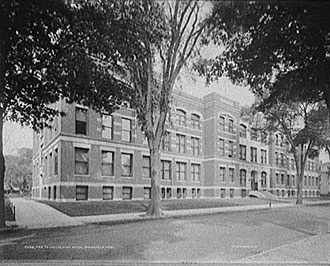 file:/activities/oralhistory/cappics/pryor1945_school, alt: b/w photo of Technical High School, Springfield, MA